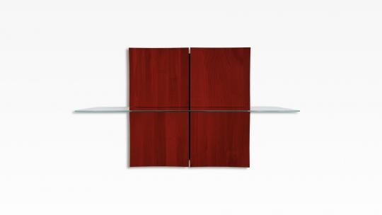 TERA-NAMI Regal 2x2 | modulares Regal mit 1 Glasboden, Eiche rot gebeizt und lackiert