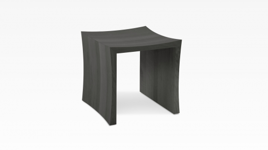 Tera-U | stool-side table, oak colour stained in  Japanese-black