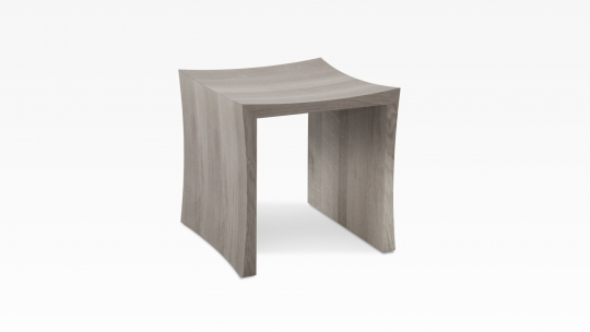 TERA-U | stool-side table, oak colour stained in warm grey