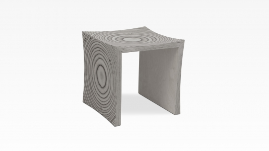 TERA-U | stool-side table, birch plywood, warm-grey color stained and lacquered