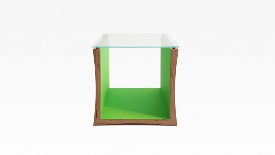 TERA-U | side table-stool, birch plywood, inner faces in Moss-green stained and lacquered