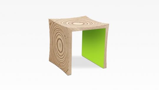 TERA-U | Hocker-Beistelltisch, Multiplex Birke, Innenseiten Moosgrün gebeizt und lackiert