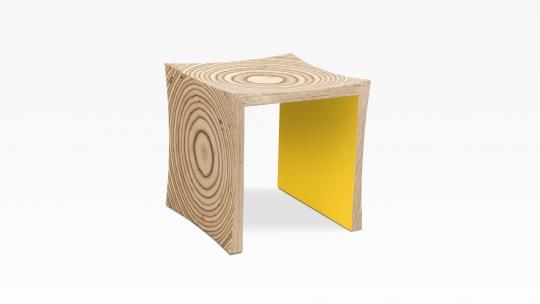 TERA-U | Hocker-Beistelltisch, Multiplex Birke, Innenseiten Sonnengelb gebeizt und lackiert