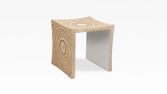 TERA-U | stool-side table, birch plywood, inner faces in Warmgrey stained and lacquered