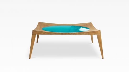 Bergsee 100 | coffee table in oak with glazed lavastone in turquoise colour