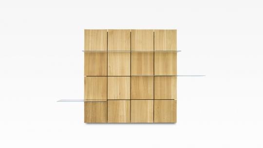 TERA-NAMI-Regal 4x4 | in Eiche mit 3 Glasböden