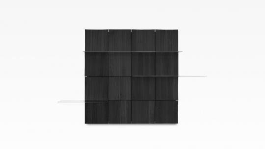 TERA-NAMI Regal 4x4 | modulares Regal, Eiche Japan-Schwarz gebeizt mit 3 Glasböden