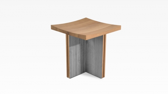 TERA Modular X-Module | stool-side table, oak colour stained in warm-grey