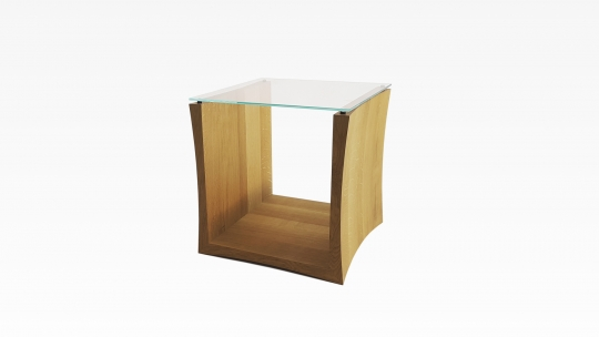 TERA-U | Side table-Stool, oiled and waxed oak with glass top