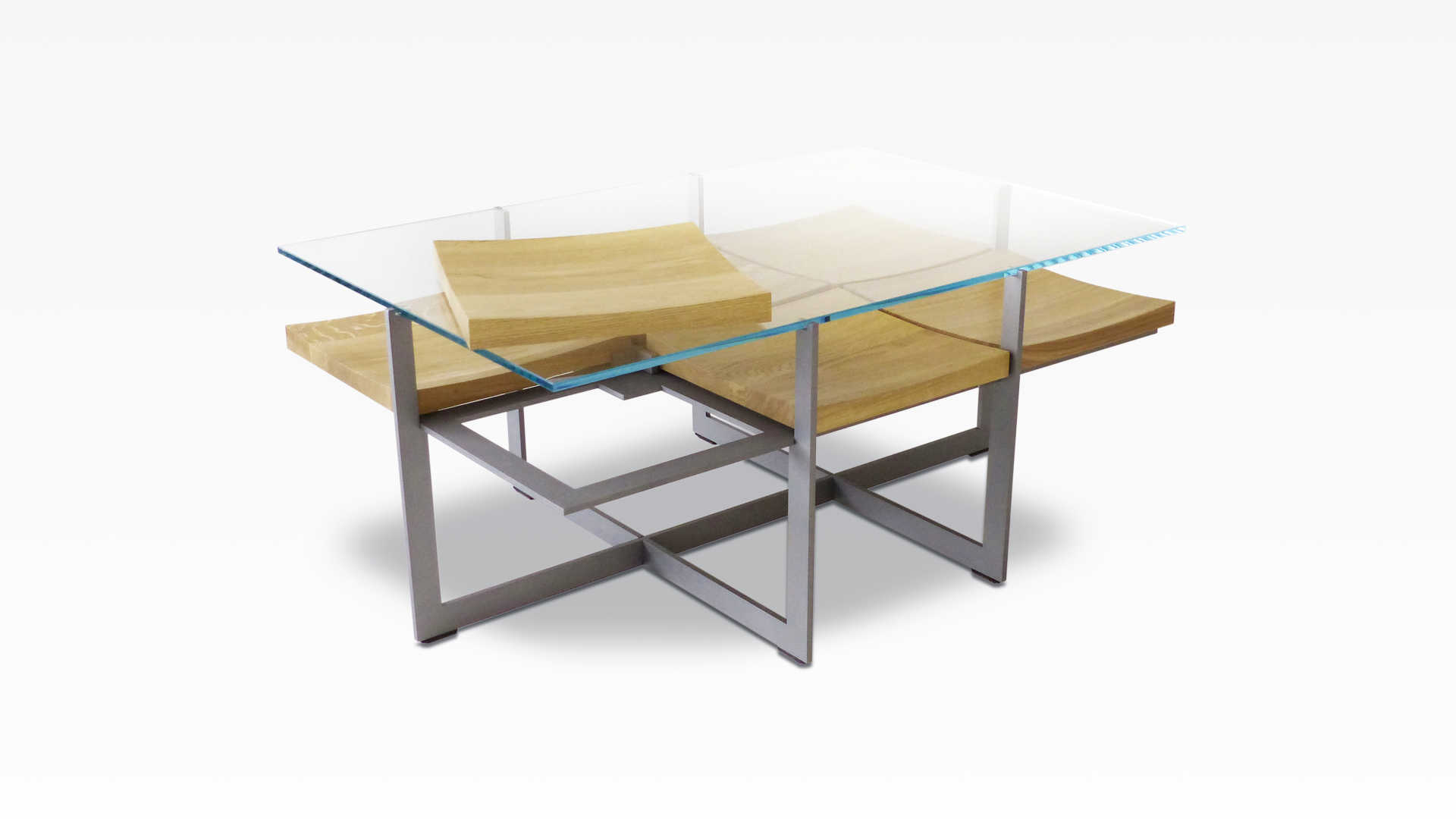 deutsu m nchner m belmanufaktur fallingwater 2x3 70 couchtisch stahl glas eiche ge lt. Black Bedroom Furniture Sets. Home Design Ideas